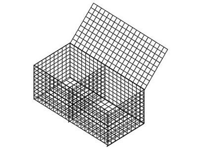 A two-cell welded gabion box drawing on the white background.