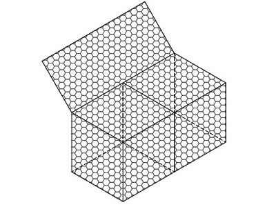 A two-cell woven gabion box drawing on the white background.