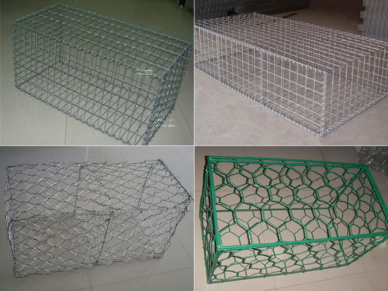 A welded gabion box, a welded gabion mattress, galvanized gabion cage and PVC coating gabion cage on the gray background.