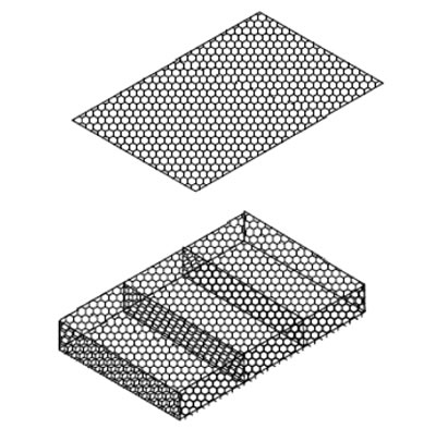 A woven mesh gabion mattress and a lid on the white background.