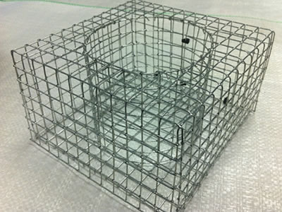 A gabion planter on the table with round inner structure.